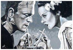 Amorous Libation Frankenstein & Bride - Fine Art Print