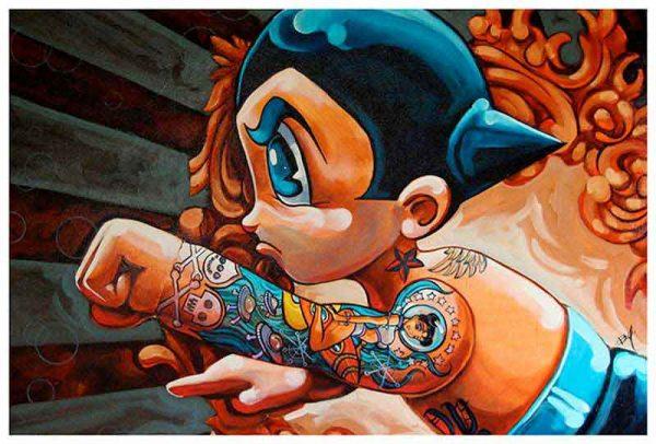 Boybot Homage Tattoo Astro Boy – Fine Art Print Mike Bell 1