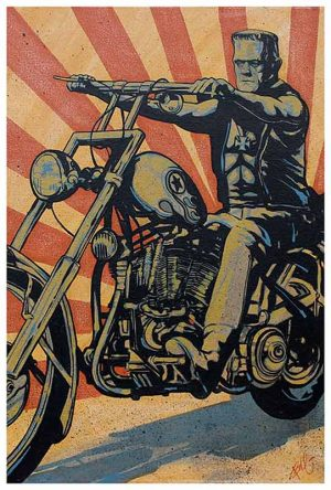 Eerie Rider - Frankenstein Chopper - Fine Art Print Mike Bell
