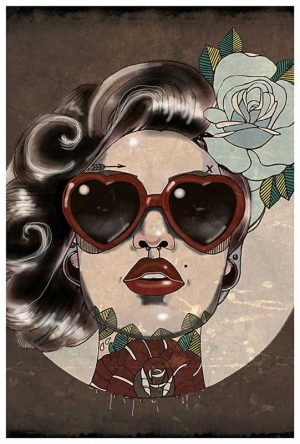 Glam Red Heart Shades Glamorous Woman - Fine Art Print