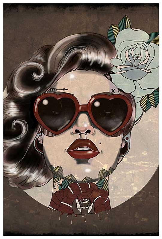 Glam Red Heart Shades Glamorous Woman – Fine Art Print 1