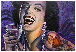 Marilyn Noir - Black Haired Tattooed Monroe - Fine Art Print
