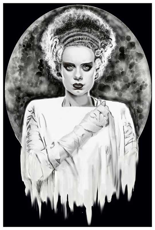 Monsters Bride B & W Frankenbride – Fine Art Print 1