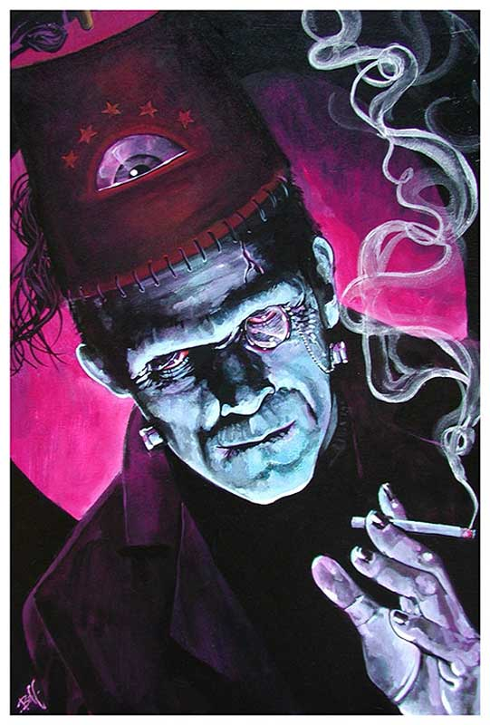 The Oracle Purple Smoking Frankenstein – Fine Art Print Mike Bell 1