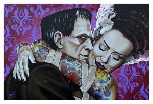Undying Love - Frankenstein & Monster Bride Fine Art Print