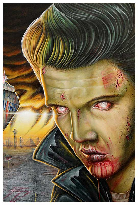 Viva Las Vegas Zombie Elvis – Fine Art Print Randy Drako 1