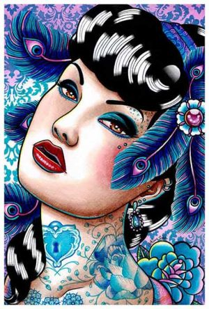 Sapphire Nights Gorgeous Tattooed Beauty - Fine Art Print